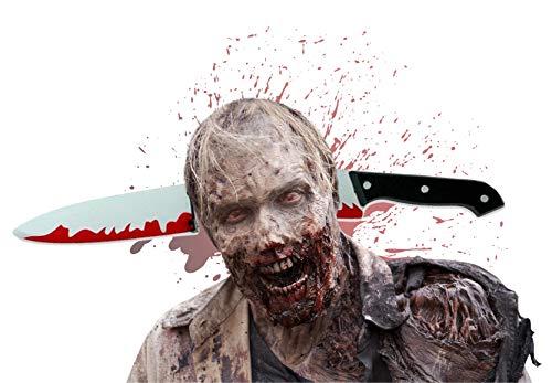 TK Gruppe Timo Klingler Haarreif Kostüm Halloween für Herren und Damen blutiges Messer Verkleidung