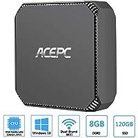 ACEPC AK2 Mini PC Windows 10, 8GB RAM/ 120GB ROM, Intel Celeron J3455 Processor 4K HD Micro Computer with Gigabit Ethernet, Dual Band Wi-Fi, Bluetooth 4.2, Dual HDMI Output