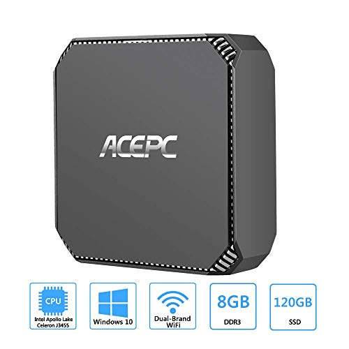 ACEPC AK2 Mini-PC Windows 10, 8GB RAM/ 120GB mSATA SSD, Intel Celeron J3455 Prozessor 4K HD Mini Desktop Computer mit 1000Mbps LAN, Dual Band WLAN, BT 4.2, Zwei HDMI-Ausgängen - Windows Desktop-computer 8