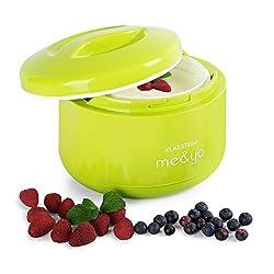 Klarstein me & yo • Joghurtzubereiter • Joghurtmaker • Joghurtbereiter • 1 Liter Joghurt • Eigenproduktion • 10-12 h Produktionszyklus • ohne Strom • BPA-frei • grün