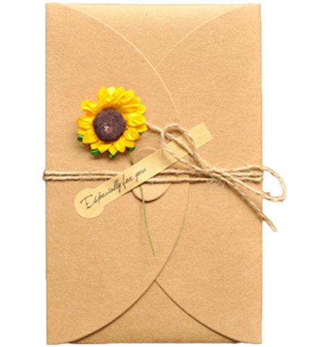 Monbedos 5 pezzi biglietti d' auguri fatti a mano retro kraft envelope flower cartolina, regalo ideale per la festa della mamma o per san valentino matrimonio inviti carta sunflower-l 6.89*4.33 inch