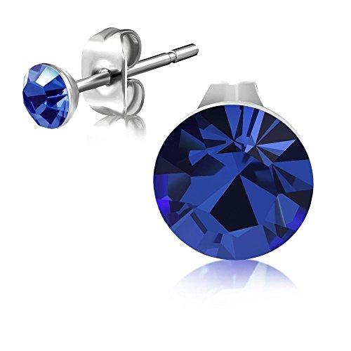 Bungsa Dunkelblaue Kristall Ohrstecker 3mm ~Made with STELLUX Austrian Crystals ~ - 1 Paar Edelstahl (Ohrringe Ohrhänger Creolen Ohrschmuck Ohrklemmen Damen Frauen Herren Mode)