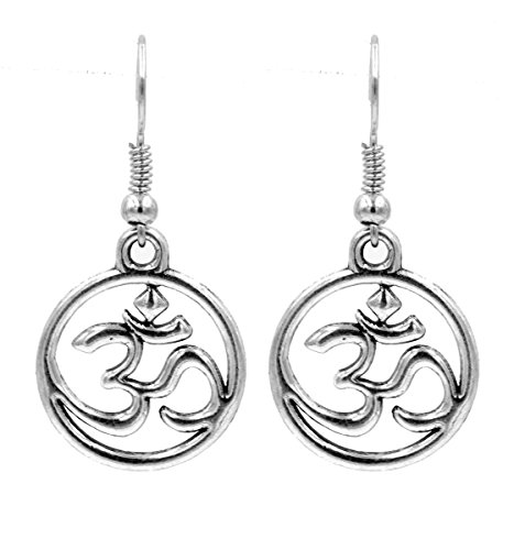 Antik Silber Ton OM Buddhismus Symbol Kreis Drop Haken Ohrringe (in Organza Tasche)