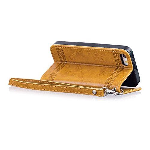 Per iPhone 5C Pelle Custodia Flip Cover,SKYXD Premium PU Leather Case di Cuoio Custodia Portafoglio con Carte di Credito Slot per iPhone 5C,Vino rosso Oro