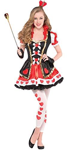 erdbeer-clown - Mädchen Karneval Kostüm Queen of Hearts, Mehrfarbig, Größe 152-164, 12-14 (Wunderland Herz Der Im Kostüme König Alice)