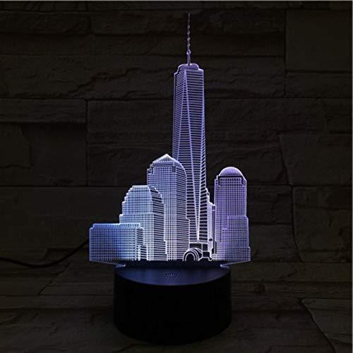 Usb 3D Led Nachtlicht World Trade Center Atmosphäre Lampe Dekoration Rgb Kinder Baby Geschenk Berühmte Gebäude Tischlampe Nachttisch Neon With remote control