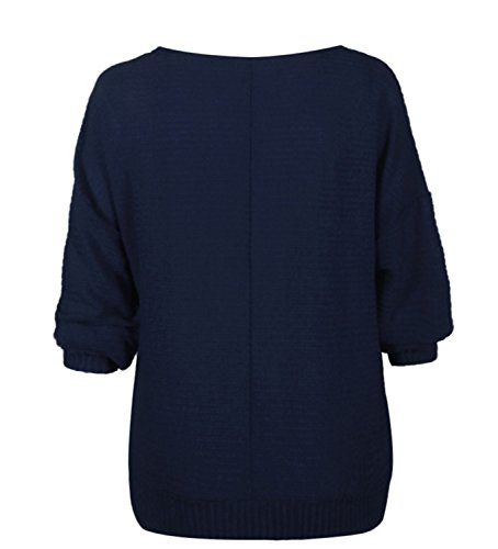 SHUNLIU Women's Autumn Winter Solid Color UBoot Neckline Pullover Knitted Jumpers Sweater Bat Sleeve Loose Pullover Blouse Tops Sweatshirt Navy Blau