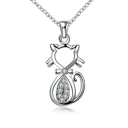 NYKKOLA Collana alla moda con ciondolo a forma di gattino, placcata in argento Sterling 925