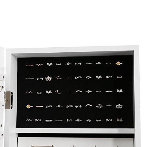 Songmics JBC77W Schmuckschrank und Standspiegel zwei in einem, weiß, 35,5 x 153 x 35 cm - 8
