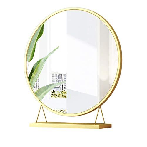 nkspiegel Girl Dressing Mirror Desktop Desktop Gold Schlafzimmer Nordische Tabelle Kleiner Spiegel Make-Up-Spiegel Schminkspiegel (Color : Gold, Größe : 30 * 10 * 34cm) ()