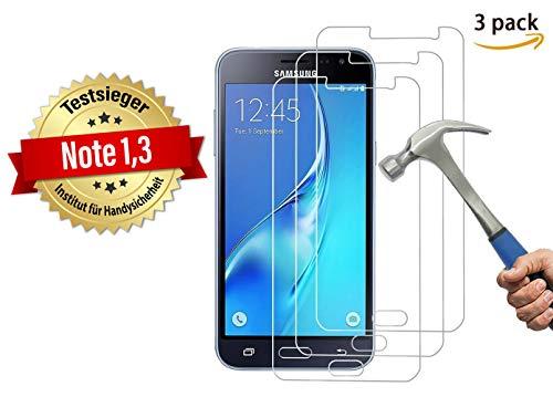 Cardana | 3X bruchsicheres Schutzglas für Samsung Galaxy J3 2016 | Schutzfolie aus 9H Echt Glas | angenehme Handhabung| Schutzglas zum Schutz vor Bildschirmschäden | blasenfreie Anbringung | 3 Stück...