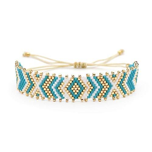 CHANQIDJIK Woven Armband,Zubehör Für Frauen Blau Breite Armband Boheme Breite Sommer Armband Perle Mann Bracelet Mens Schmuck