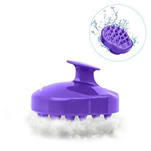 Philorn spazzola per shampoo massaggiatore per cuoio capelluto per capelli, doccia, pettine in silicone morbido per uomo, donna, bambino o animale domestico (viola)