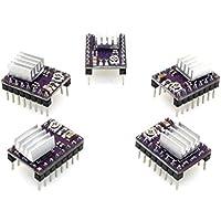 UEETEK 5 piezas DRV8825 Módulo de controlador de motor paso a paso de 4 capas con mini disipador de calor para la impresora 3D
