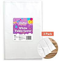 jaunty partyware 3pk White Table Cover Tablecloth for Wedding, Birthdays, Baby Showers Party Supplies | Includes Party Games Ebook