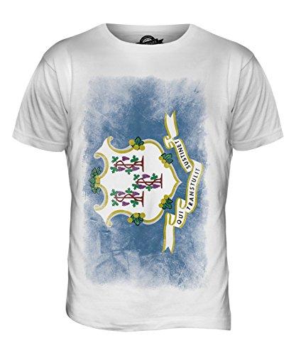 CandyMix Bundesstaat Connecticut Verblichen Flagge Herren T Shirt Weiß