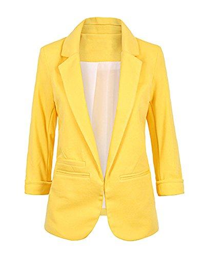 ZongSen Donna Casuale Boyfriend Manica Lunga Slim Fit Colore Puro Giacca Blazer Giallo