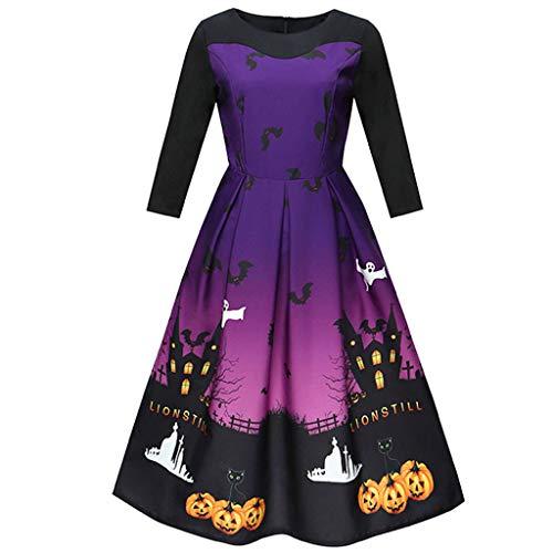 catmoew Halloween Kleid Damen Halloween Printed O Hals Langarm Vintage Kleid Party Kleid Blusen Kleider Abend Party Prom Dress Blusenkleid