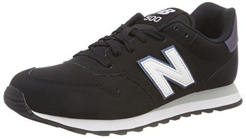 New Balance Damen 500 Sneaker, Schwarz (Black/Irredescent/White Kir), 39 EU