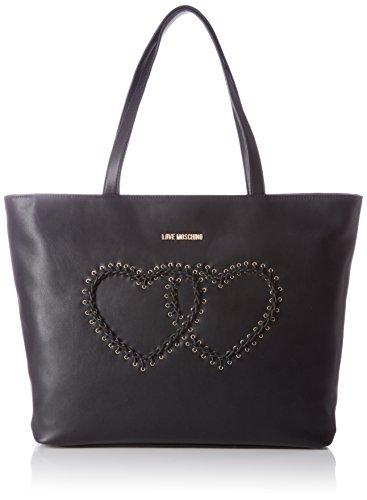 Love Moschino Borsa Calf Pu Nero - Borse Tote Donna, Schwarz (Black), 31x45x12 cm (L x H D)