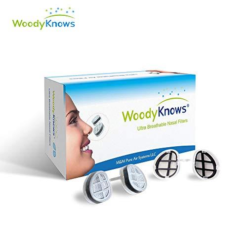 WoodyKnows ultra atmungsaktiv Nasenfilter für Heuschnupfen, Pollen & Staub Allergien, Tierhaare und Hautschuppen Allergie, allergisches Asthma, Sinusitis
