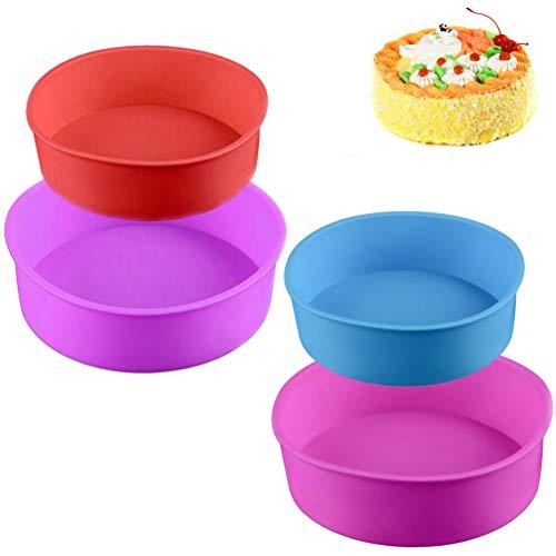 4PCS Silikon Kuchenform Runde Backform aus Silikon Tortenbackform Silikonbackformen 6 Zoll, 8 Zoll,Antihaft-Backformen Pfanne für Kuchen und Torten zum Backen(blau/rot/lila/pink)