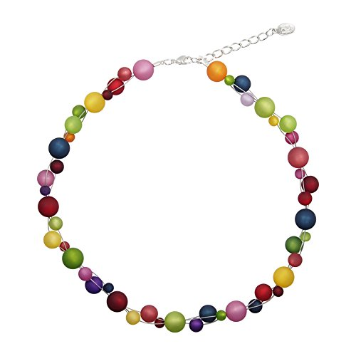 perla pd design Halskette aus echten Polarisperlen ca. 45 cm + 4.5 cm PK1231 Regenbogen-Mix hell