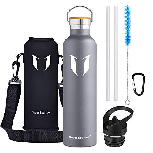 Super Sparrow Trinkflasche - 1000ml - Wasserflasche Doppelwandig Vakuum Isoliert Edelstahl - Auslaufsicher Sport Trinkflaschen | Ideale Flasche - BPA-freie - 2 Deckel + Tragetasche