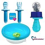 MAM Kindergeschirr - Set Boy blue colours // Warmhalteteller mit Lernbesteck MAM Dipper Set 6+ & Primamma Fruchtsauger blau
