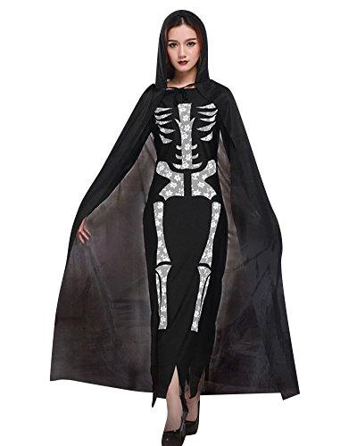 Preisvergleich Produktbild Damen Horror Fasching Kostüme Skelett Halloween Kostüm Der Tod Umhang Set