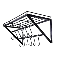OROPY Wall Mount Pot Pan Racks, Kitchen Utensils Hanging Shelf with 2 Rails,12 Hooks,60cm