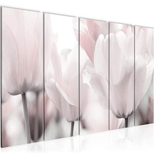 Bilder Blumen Tulpen Wandbild 200 x 80 cm Vlies - Leinwand Bild XXL Format Wandbilder Wohnzimmer Wohnung Deko Kunstdrucke Grau 5 Teilig - MADE IN GERMANY - Fertig zum Aufhängen 203955c