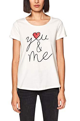 edc by ESPRIT Damen 019CC1K017 T-Shirt, per Pack Weiß (Off White 2 111), X-Large (Herstellergröße: XL)