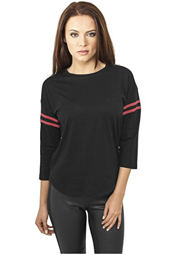 Urban Classics Ladies Sleeve Striped L/S Tee Manica lunga donna nero/rosso M
