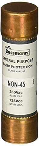 Bussmann NON-45 45 Amp One-Time Cartridge Fuse Non-Current Limiting Class K5, 250V UL Listed