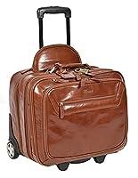 Real Leather Pilot Case Travel Laptop Bag on Wheels Telescopic Handle HOL15 Chestnut Tan