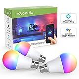 novostellar B22LED Smart Glühbirne, Wifi RGB Leuchtmittel, dimmbar Timing rgbcw Cool weiß und warmweiß, funktioniert mit Amazon Alexa Echo, Google Home, ifttt, 7W 600LM, Fernbedienung gesteuert Smartphone, 3Pack (kein Hub erforderlich)