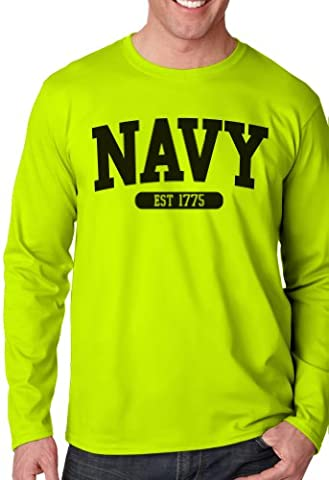 US Navy Long Sleeve T-Shirt, Yellow, Large