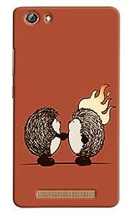 Omnam Two Animal Shaking Hand Printed Designer Back Cover Case For Gionee Marathon M5 Lite