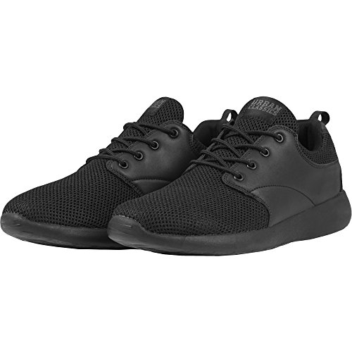 Urban Classics Damen und Herren Light Runner Shoe, Low-Top Sneaker für Damen und Herren, Sportschuhe mit Schnürung, Schwarz, Größe 45 Herren Low-top Sneaker