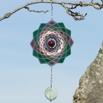 Edelstahl Windspiel – Flower 200 Lotus – beidseitig koloriert – mit Haken, Kugellagerwirbel und Kristallkugel (Lotus) - 3