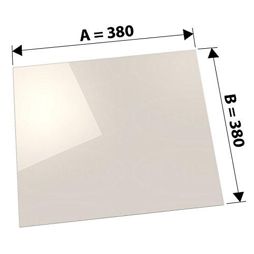 Kaminglas und Ofenglas 380 x 380 x 4 mm   Temperaturbeständig bis 800° C   » Selbstreinigend «   Markenqualität in Erstausrüsterqualität