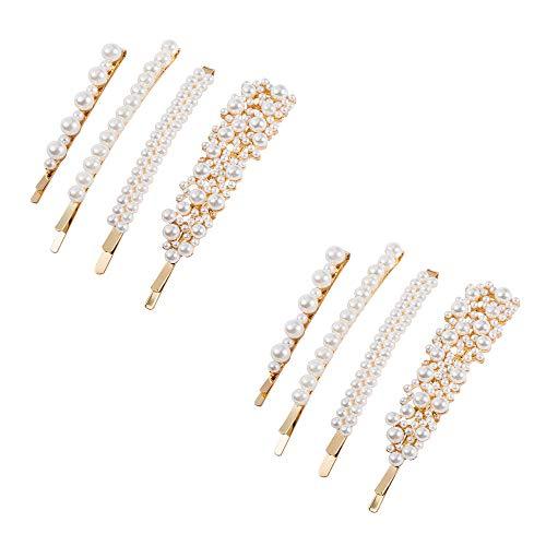 MKHDD Frauen Mädchen 8 stücke Perlen Haarspangen Set Mode Süße Künstliche Perle Haarspangen Zubehör für Party Geburtstag