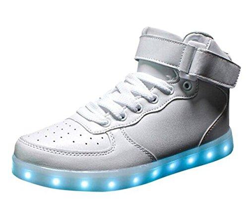 (Présents:petite serviette)JUNGLEST® LED Basket Sneaker Chaussure Lumière Changeable 7 Couleur Mode Montant Mixte Adulte Homme Femme Clignontant Lumineux Tennis Sport US Blanc