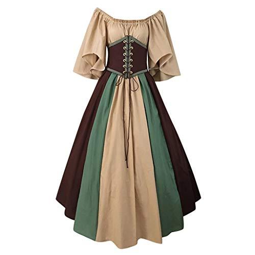 Weiblich Kostüm Renaissance - WoWer Mittelalter Kostüme Damen Kleid Mittelalterliche Kleidung braun Retro-Gothic für Damenmode Kleid mit gerichtlicher Schleife Palace Kleid mit Quadratischem Kragen, Taillennaht