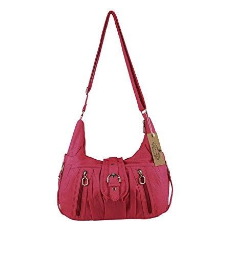 OBC ital-design Damentasche Handtasche Schultertasche Clutch Umhängetasche Borsetta CrossOver (Dunkelgrün) Rot