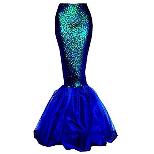 Für Pailletten Erwachsene Kostüm Kleid Meerjungfrau - FeMereina Frauen Sexy Meerjungfrau Kostüm Halloween Cosplay Phantasie Pailletten Langen Schwanz Kleid mit Asymmetrischen Mesh Panel für Maskerade Party (XL, Blau)