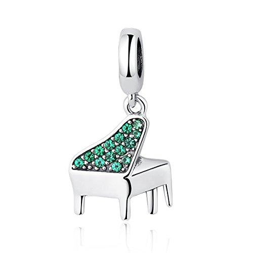 Everbling Charm Piano Lover grün cz baumeln 925Sterling Silber Bead für Pandora Charm Armband