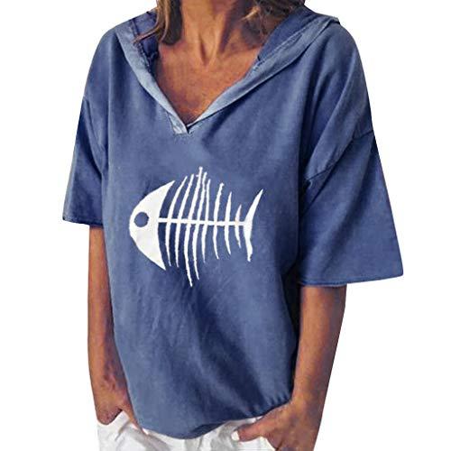 POPLY Bluse Shirt für Damen Frauen Einfach Kurzarm Hoodie Beiläufige Kapuzenpullover V-Ansatz Fisch Knochen Gedruckte mit Kapuze Oberseiten T-Shirt (Blau,XL) (Einfache Und Günstige Kostüm Frauen)