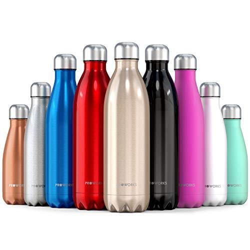 Proworks Bottiglia Acqua in Acciaio Inox, Senza BPA Vuoto Isolato Borraccia Termica in Metallo per Bevande Calde per 12 Ore & Fredde 24 Ore, Borraccia per Sport, Lavoro e Palestra - 1000ml - Oro